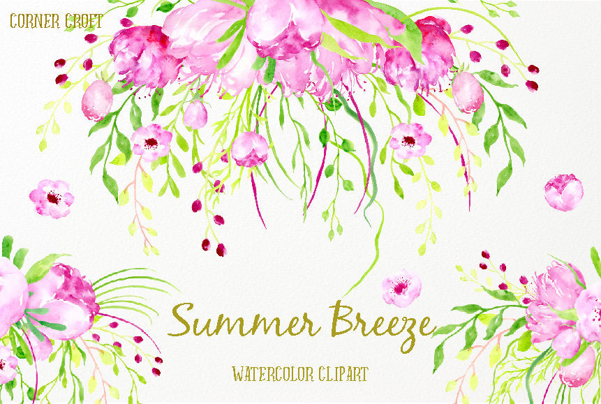 watercolor clipart summer breeze, pink and purple weeping flowers, corner croft design
