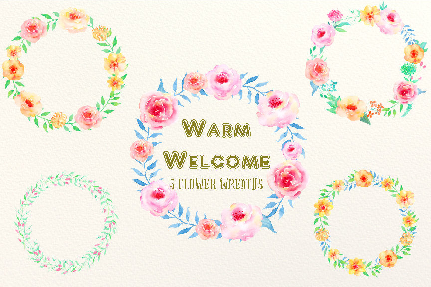 watercolour pink and peach floral wreath, Warm Welcome