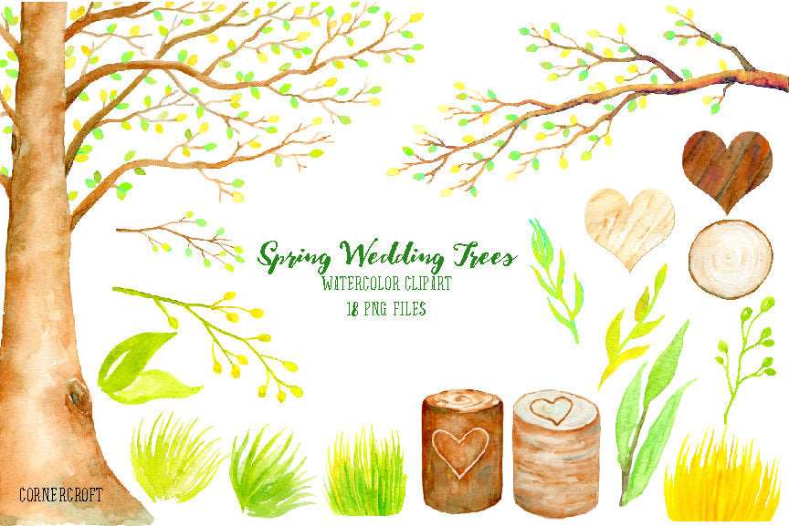 watercolor spring tree and tree stump, heart, wedding clipart
