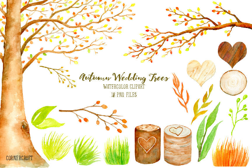 Wedding clipart - watercolor autumn beech tree, beech tree in fall color