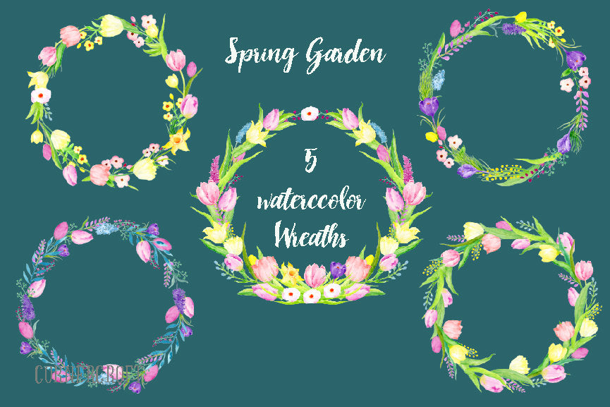 watercolour floral wreath, pink and yellow tulips, daffodils, spring flower illustration