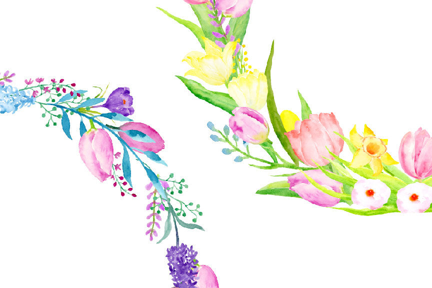 watercolor spring garden, yellow and pink floral wreath, corner croft design.