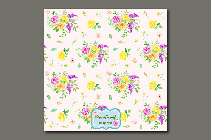 watercolor floral pattern, watercolour pattern design, corner croft art