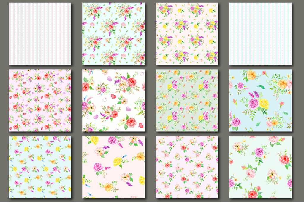 watercolour rose pattern, fabric design, wrapping paper, digital download