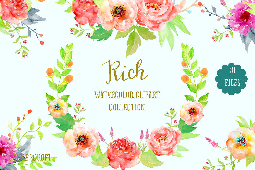 watercolor collection rich, orange and red peonies, pattern, floral arrangement instant download