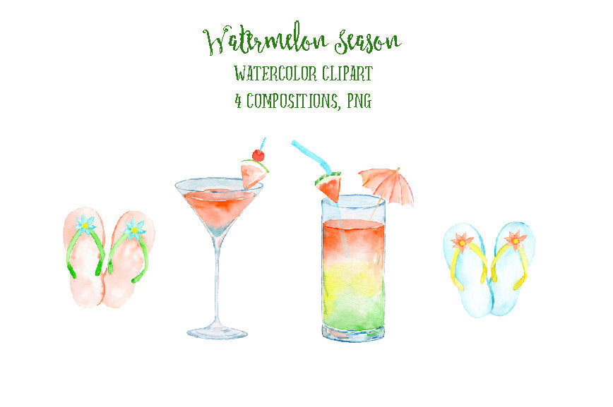 tropical drink clipart, watercolor fashion clipart, summer clipart