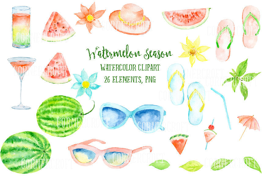 This is watermelon themed summery fashion clipart including watermelons, watermelon slices, sunglasses, flip flops, hat, cocktail and glass of watermelon juice and decorative flowers and leaves for instant download. They are perfect for wedding invitations, party invitations, greeting cards, web and blog elements, labels and other art projects.