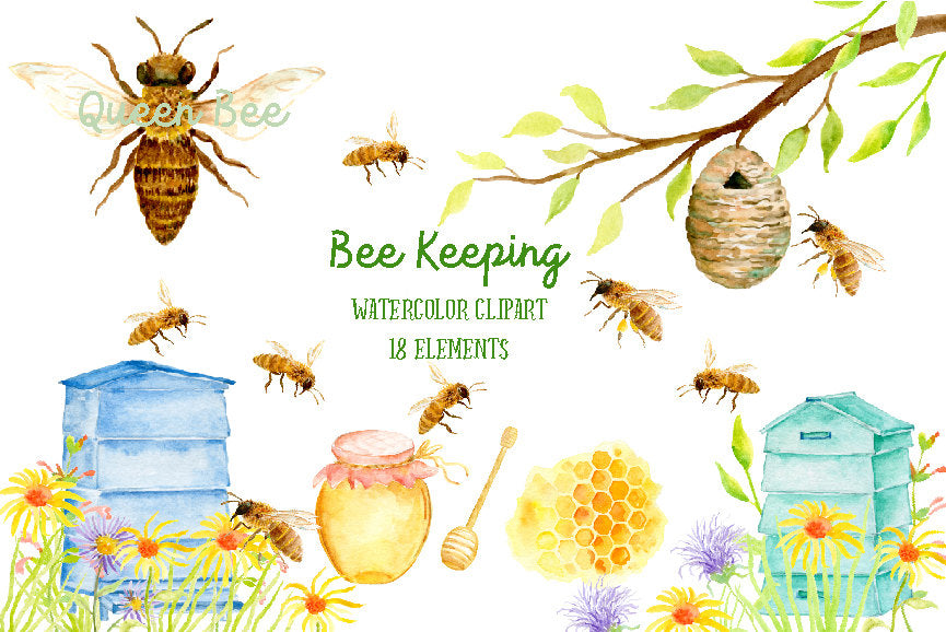 bee clipart, bee clip art, bee, bees, bee hive, honey bee, honeycomb, watercolor bee keeping