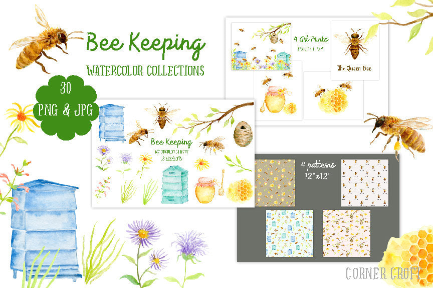 Hand painted watercolor collection bee keeping, bees, hives, art prints and greeting cards