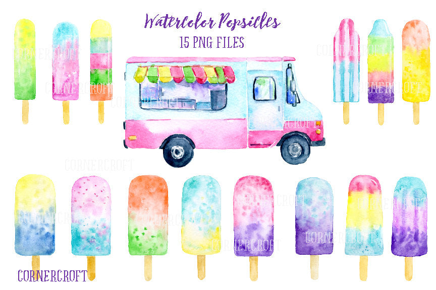 watercolor popsicles, popsicle van, ice lollies, ice cream van, ice cream clipart for instant download