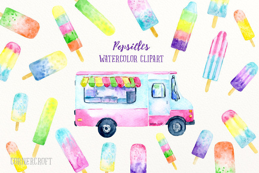 Food clipart, watercolor popsicles, popsicle van, ice lollies, ice cream van, ice cream clipart for instant download