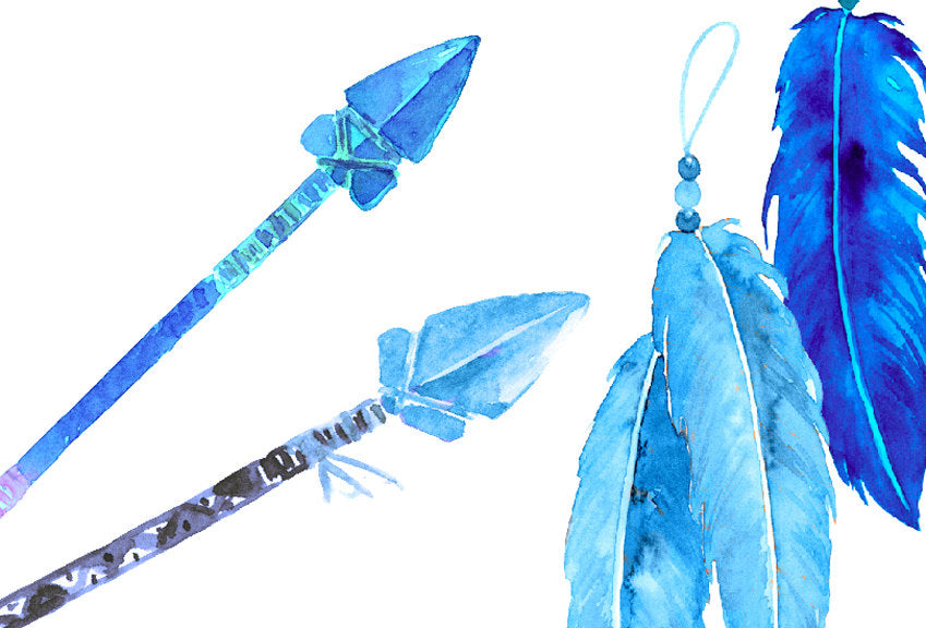 watercolor indigo arrows and feathers for instant download corner