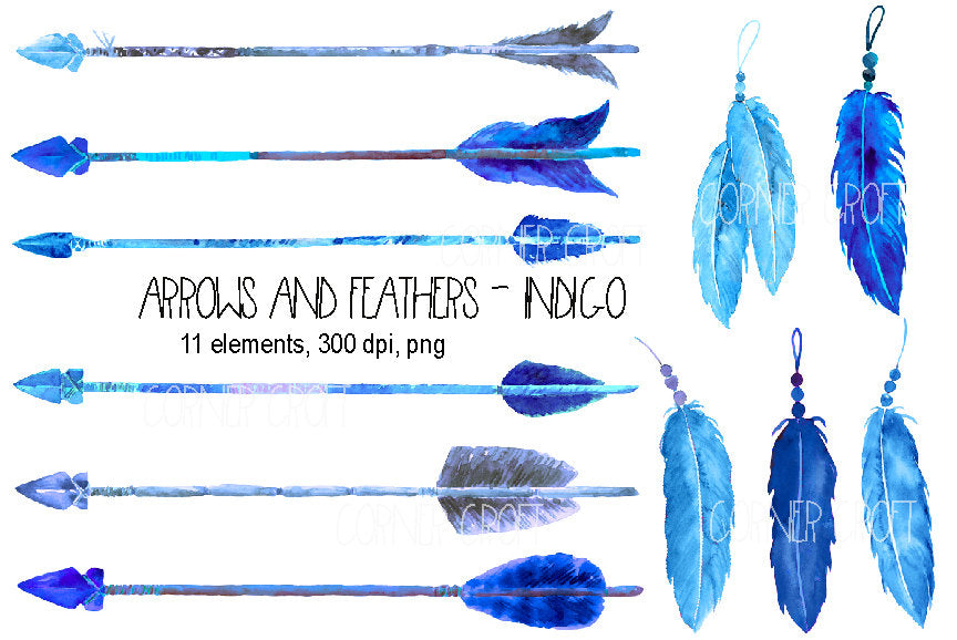 watercolor clipart indigo arrows and feathers, boho clipart, blue feathers, blue arrows