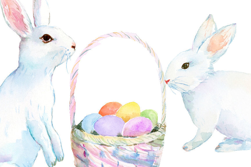 watercolor clipart white easter bunny, white rabbits and Easter eggs. Easter clipart
