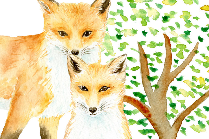 watercolour realistic fox, sleep fox, baby fox, kit, fox family, my family print