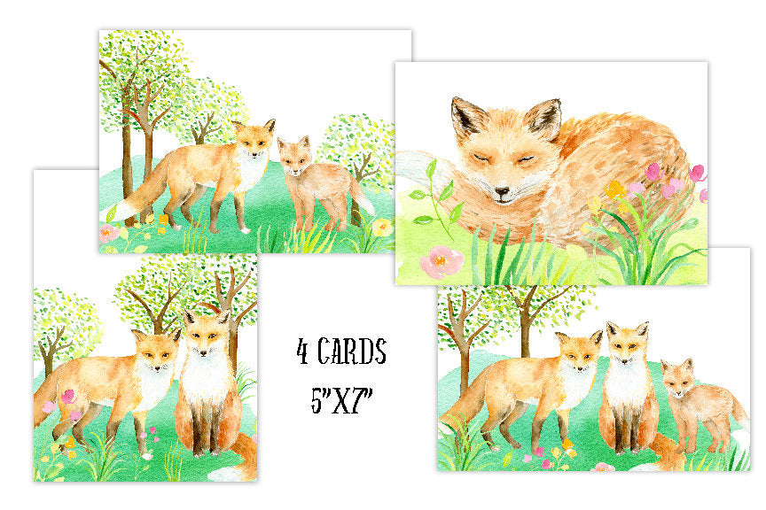 fox greeting cards, watercolour fox illustration, Corner croft greeting cards,