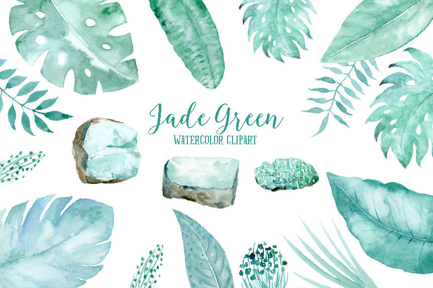 watercolor tropic leaf clipart, jade green stone, leaf, tropical foliage illustration