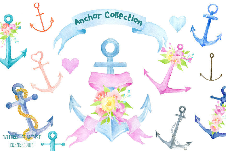 Watercolor clipart anchor collection, pastel cold anchors, wedding anchors.