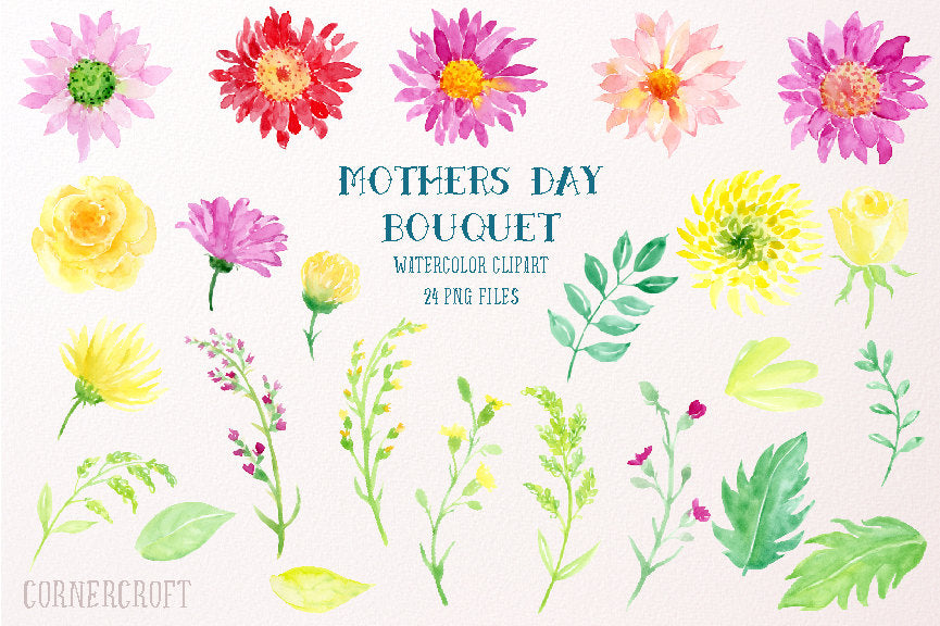 watercolor elements of Mother's Day bouquet, watercolor illustration, corner croft design