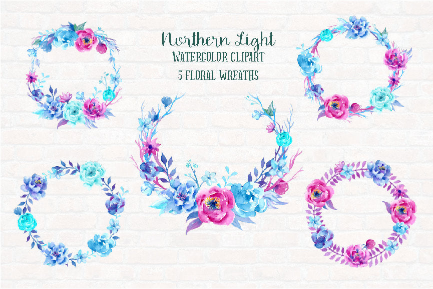 watercolour clipart northern light, watercolor pink and purple peony, clip art, instant download