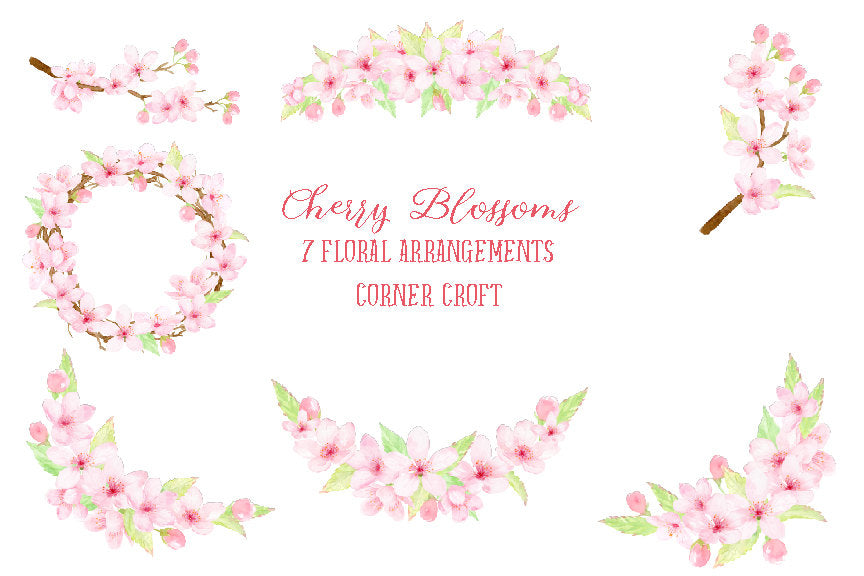 Floral arrangements and wreath of watercolor cherry blossoms