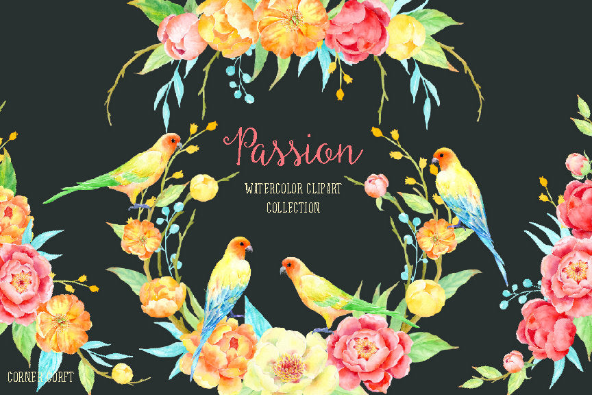 Watercolor collection Passion, orange and yellow peony, love birds, wedding invitations
