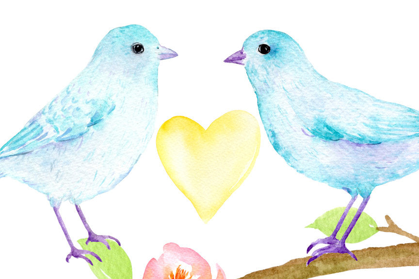 watercolor clipart, bird, pastel bird, bird clipart, birds, valentine birds, valentine clipart, eggs, heart