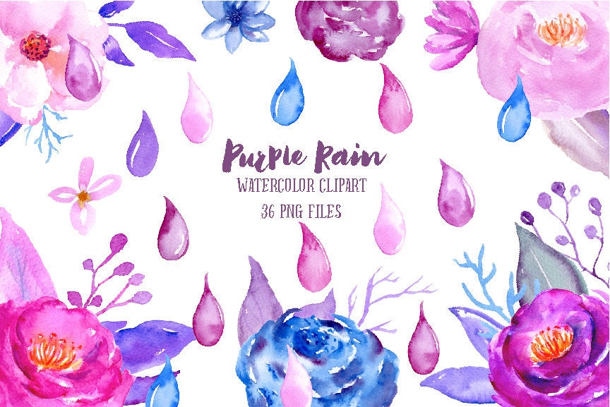 watercolor flower clipart purple rain, rain drop, blue flower, purple flower, peony, instant download