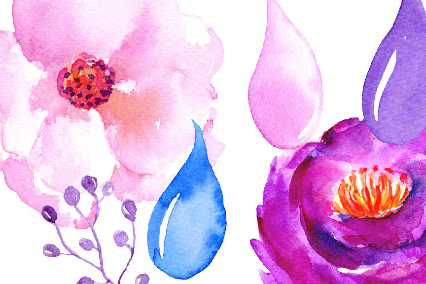 watercolor purple flower, peony, floral clipart, corner croft