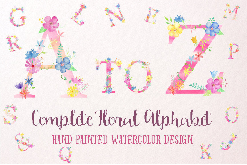 Watercolor Floral Alphabets Pink for instant download, Pink Floral Letters