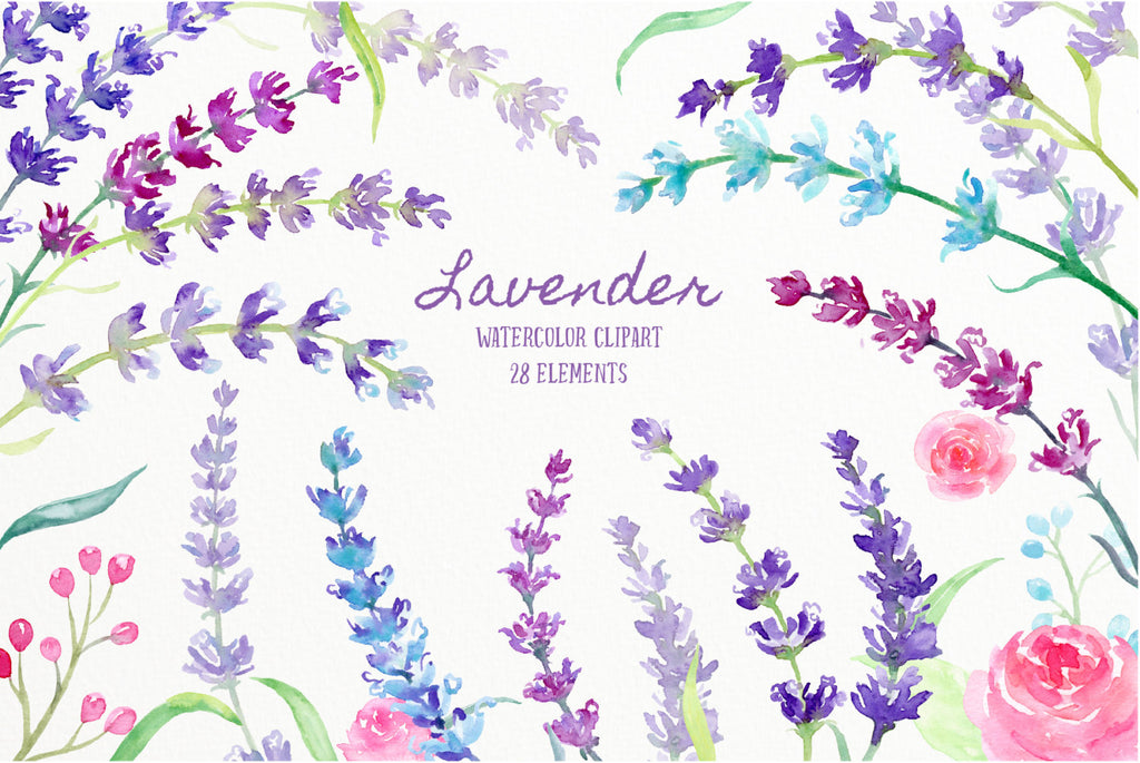 This collection includes 28 individual elements of lavender flowers in shade of blue, pink and purple, sprig of lavenders, pink rose and decoration items.
