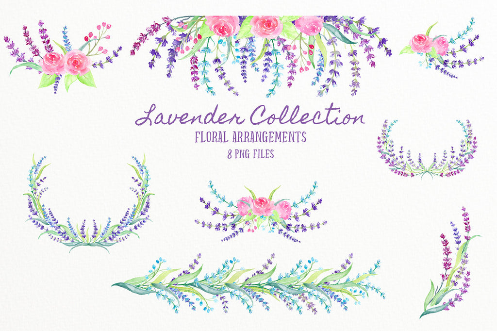Lavender flowers, sprigs of lavender, pink roses, decorative elements, and ready made lavender wreaths and floral arrangements