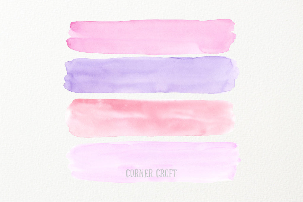 watercolor texture, watercolor brush stroke pink and purple, instant download