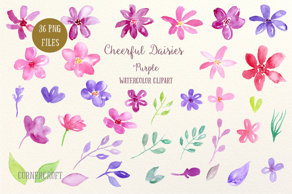watercolor clipart cheerful daisy in pink, purple and red