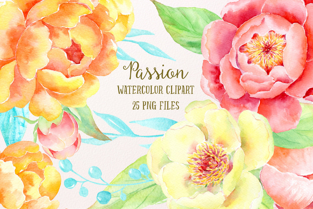 watercolor clipart passion, floral elements, yellow peony, orange peony