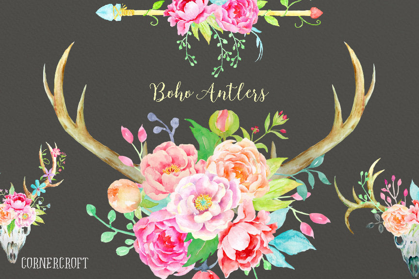 floral boho antlers and arrows decorated with peach and pink peonies and floral elements