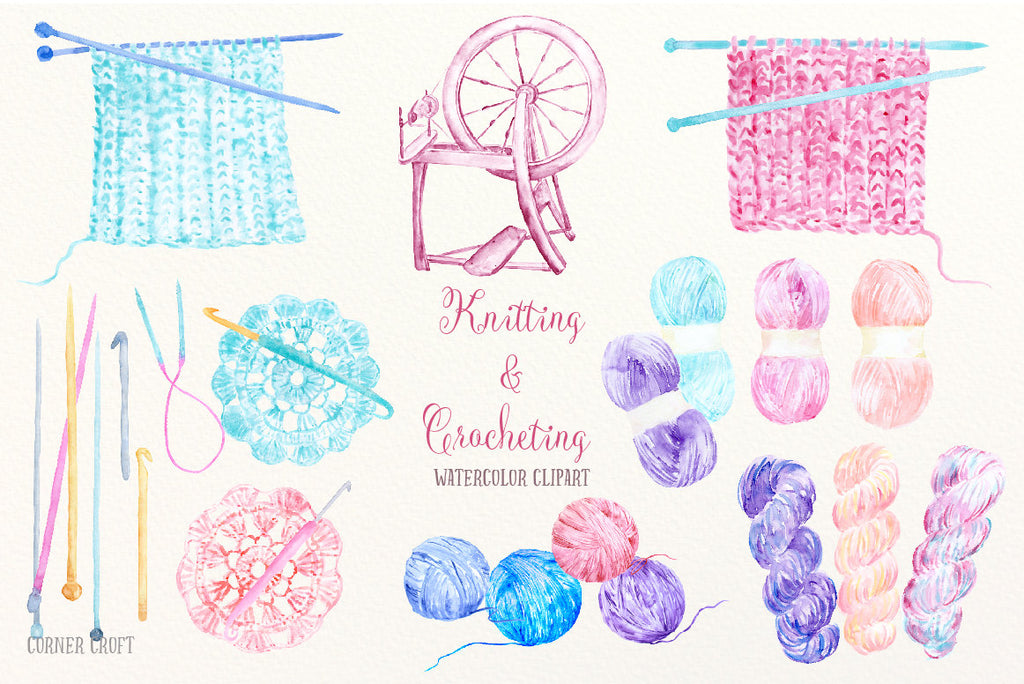watercolor clipart spindle wheel, knit ware, crochet pieces, crochet hooks, knitting needles, wool, yarn, thread, knitting work