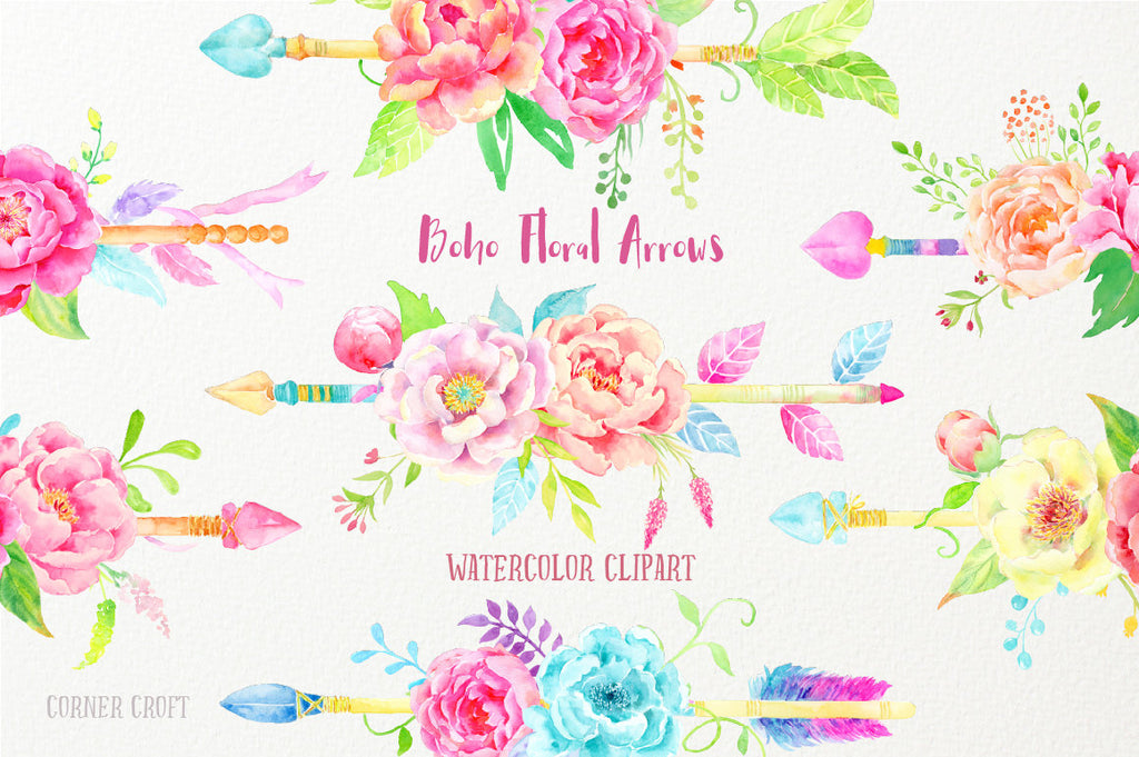 Waterclor boho floral arrow, peony arrow, wedding floral arrow, instant download, corner croft