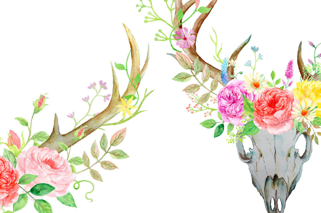 watercolor deer antler and skull floral arrangements, wild and free rose decoration
