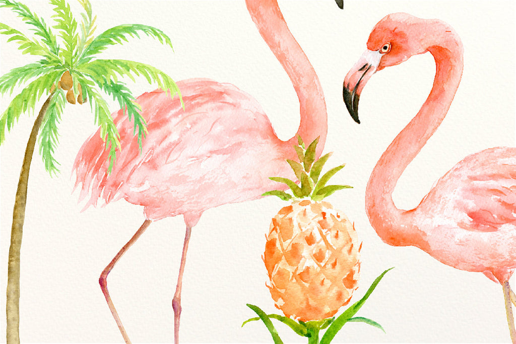 watercolor tropical birds, palm trees, pineapple plants, bird illustration