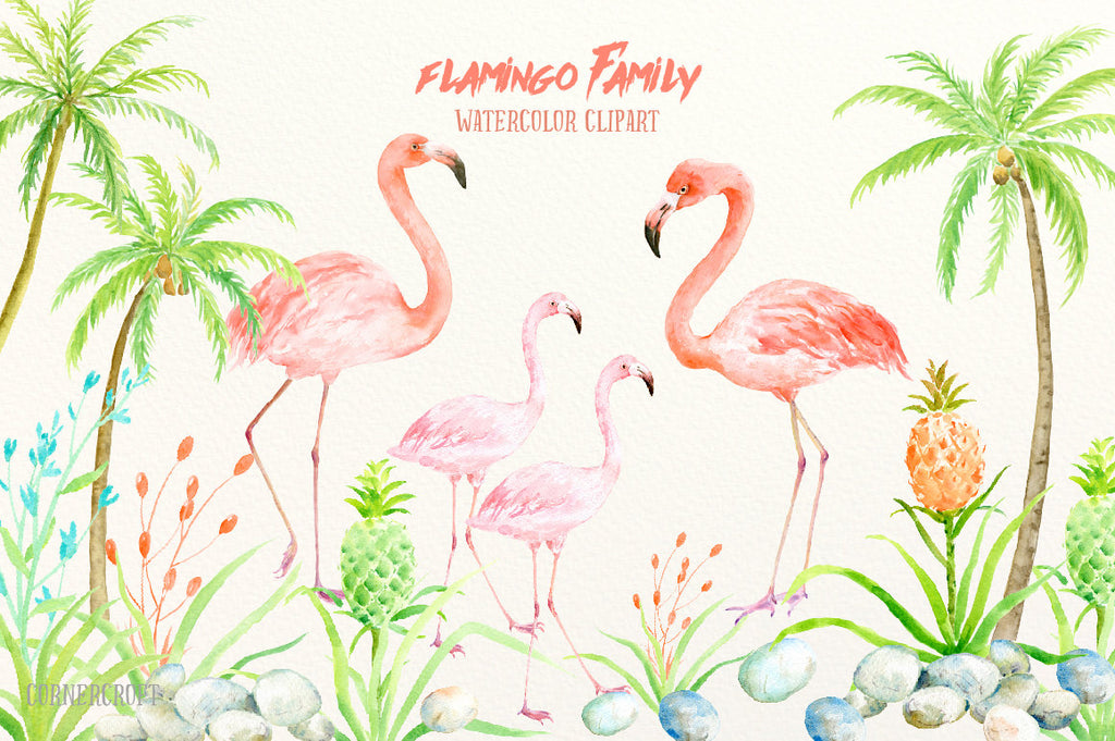 watercolor flamingo family, pink flamingo, instant download
