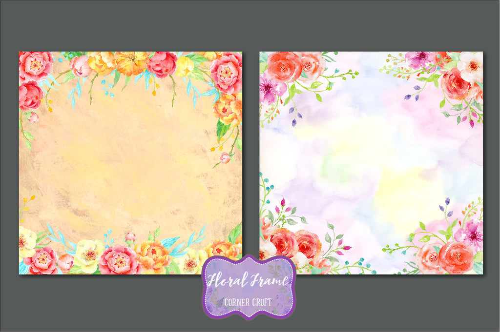 atercolor Floral Frames, watercolor background, floral background, digital background  for instant download