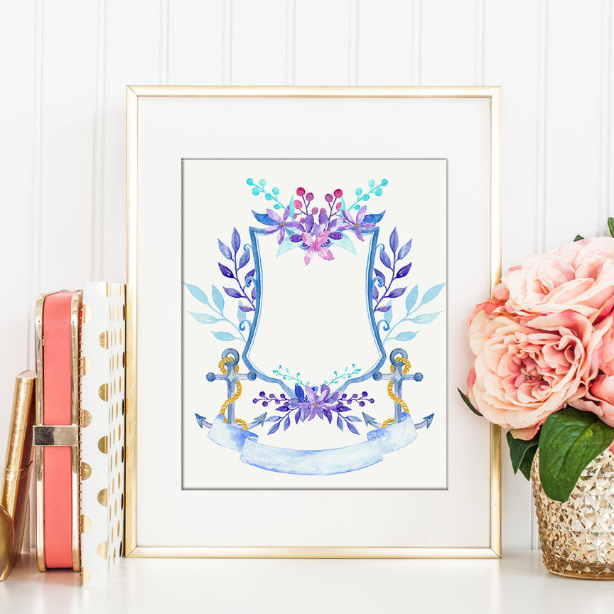 Watercolor Floral Anchor Crest for Instant Download, deep blue, wedding crest, family crest, crest printable