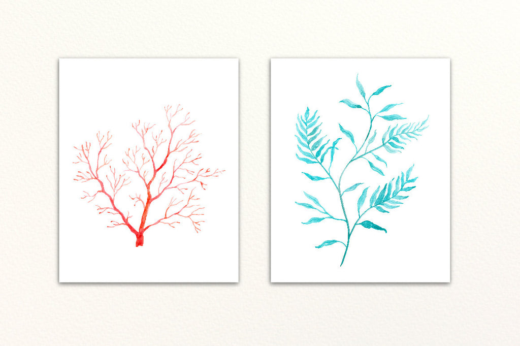 Watercolor clipart sea ferns, seaweed and sea grass for instant download