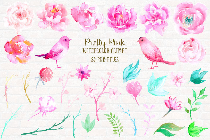 watercolour peony illustration, pink birds, instant download