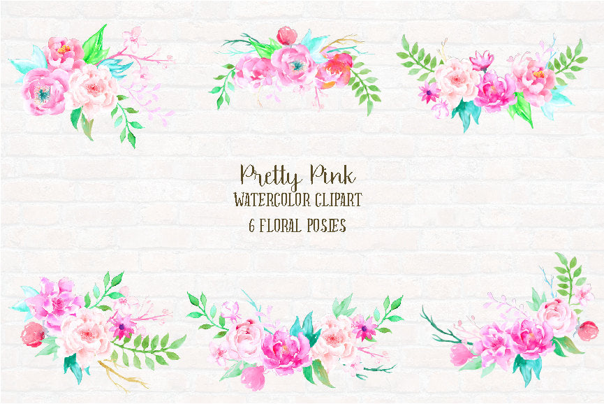 watercolour pink peony floral arrangements, posy, instant download