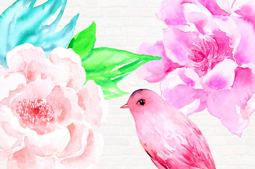 watercolour pink flowers, pink bird, wedding flowers, instant download
