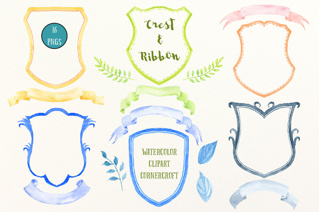 watercolor crest frames, ribbons and leaves for instant download, diy wedding crest, family crest, branding