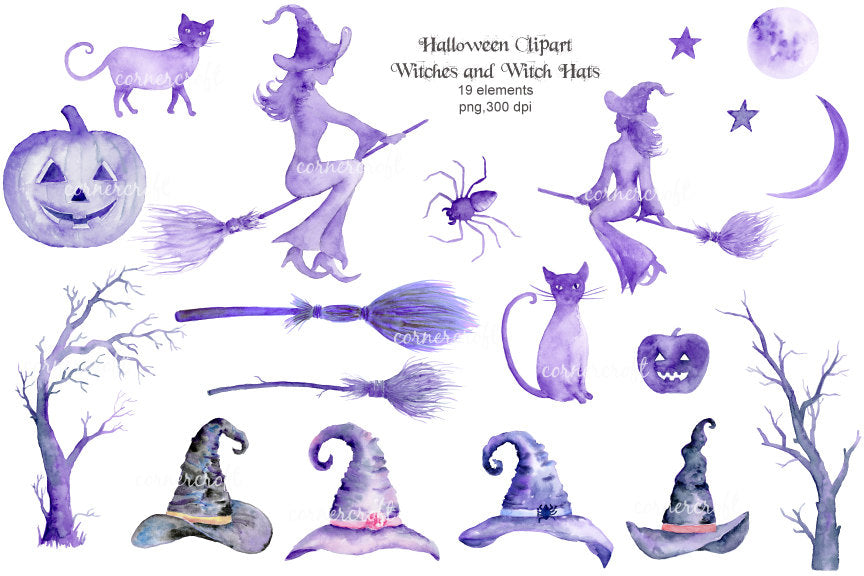 Halloween witches, black cats, pumpkins, spider, spooky trees, witch's brooms, moon and stars