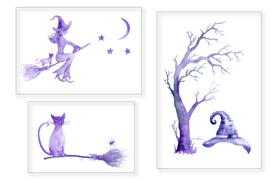 Halloween clipart, watercolor witches, witch hat, blue and purple
